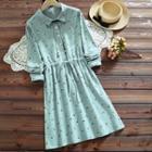 Long-sleeve A-line Floral Dress