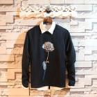 Mesh-overlay Floral Pullover