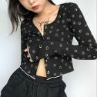 Smiley Face Print Long-sleeve Cropped Top