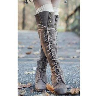 Faux Leather Lace-up Over-the-knee Block Heel Boots