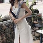 Open Back Asymmetric Hem Sleeveless Dress