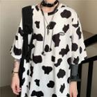 Milk Cow Print Elbow-sleeve T-shirt