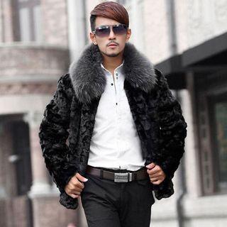 Color Panel Faux Fur Coat