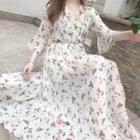 Floral Bell-sleeve Chiffon Dress