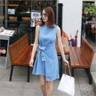 Wrap-front Denim Dress
