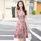 Floral Ruffle Chiffon Midi Dress