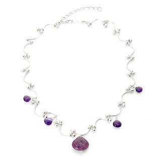 Silver, Amethyst, Colorstone Necklace