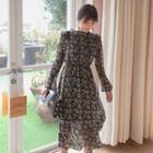 Mock-neck Patterned Long Chiffon Dress