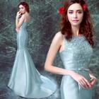 Lace-panel Sleeveless Trumpet Evening Gown
