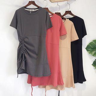 Short-sleeve Drawstring Frill Trim Mini Dress