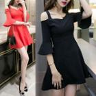 Ruffle Sleeve Cutout Shoulder A-line Dress