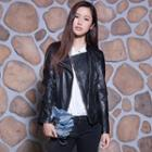 Faux-leather Zip Printed Jacket