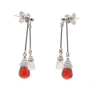 Garnet And Rose Quartz Lovely Little Dancer Earrings