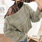 Off-shoulder Checked Shirt