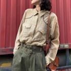 Plaid Flap-pocket Long-sleeve Blouse