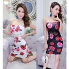 Floral Print Strapless Mini Dress
