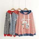 Color Block Striped Hooded Pullover