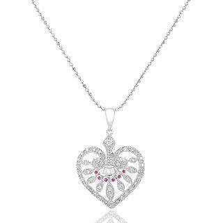 18k White Gold Heart Shape Pendant With Diamonds And Red Sapphire
