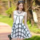 Sleeveless Check Ruffle Dress