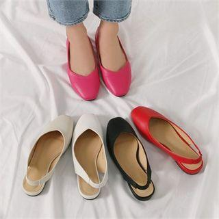 Sling-back Faux-leather Flats