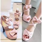 Bow Accent Platform Chunky-heel Sandals