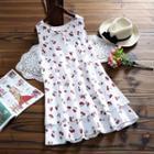 Cherry Print Sleeveless Layered Dress