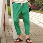 Drawstring-waist Cotton Pants