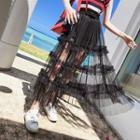 Tiered Sheer Midi Skirt