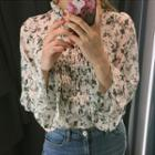 Pleated Floral Print Long Sleeve Chiffon Top