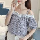 Lace Trim Plaid Short-sleeve Top