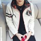 Camo Print Hooded Zip Jacket