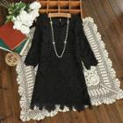 3/4-sleeve Crochet Dress