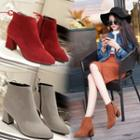 Chunky-heel Zip-side Bow Ankle Boots