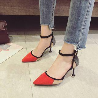 Color Block Ankle Strap Pointy-toe Pumps