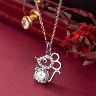 925 Sterling Silver Rhinestone Mouse Pendant Necklace S925 Silver - Set - One Size