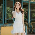 Buttoned Pleated Hem Sleeveless Dress