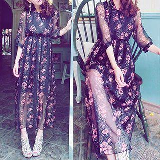 Elbow-sleeve Floral Maxi Dress