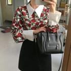 Contrast-trim Patterned Shirt