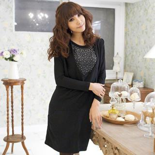 Set: Rhinestone T-shirt + U-neck Sleeveless Dress