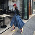 Flared Denim Long Overall Dress Dark Blue - One Size