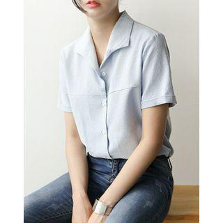 Notched-collar Cotton Shirt