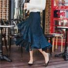 Ruffled-hem Laced Skirt