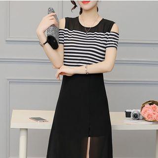 Stripe Panel Cold Shoulder Midi Dress