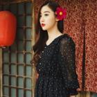 3/4-sleeve Polka Dot Maxi Dress