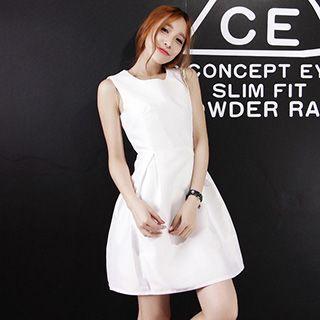 Bow Accent Plain Sleeveless A-line Dress