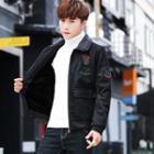 Applique Faux Leather Zip Jacket