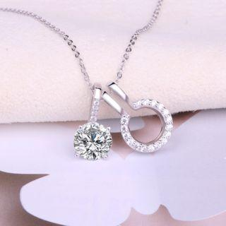 925 Sterling Silver Rhinestone Pendant Necklace Pendant - White - One Size