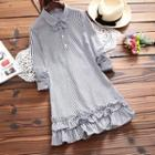 Ruffle Hem Striped Collared Long Sleeve Dress