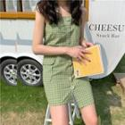 Sleeveless Plaid Asymmetric Dress