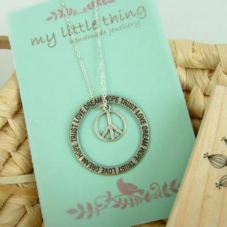 Circle Peace Silver Necklace